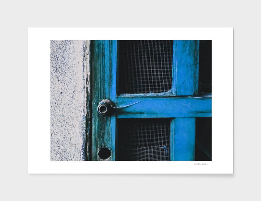 blue vintage wooden door