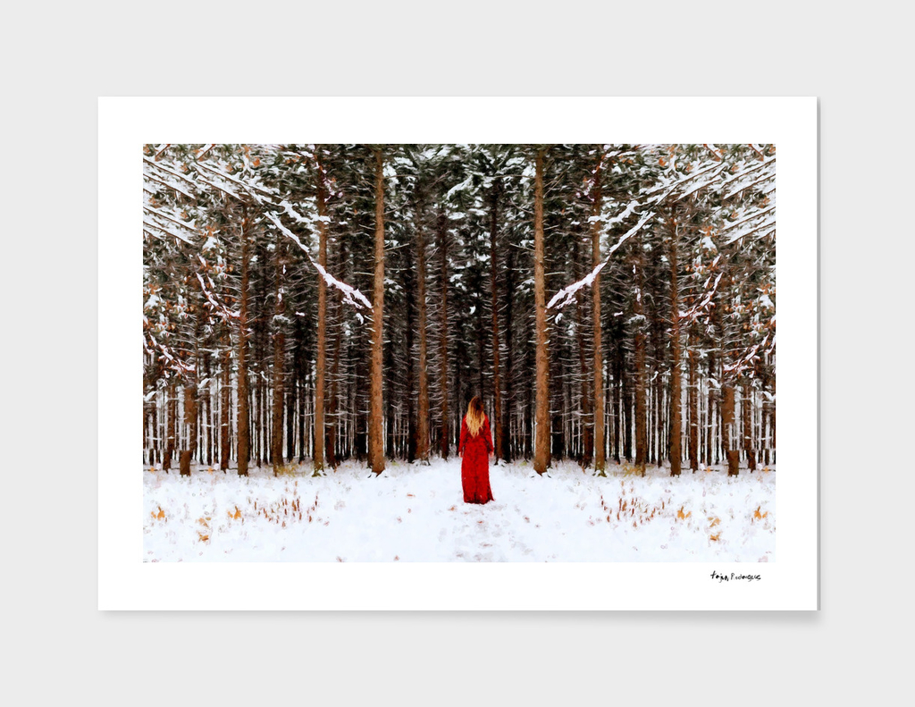 A Girl in the Winter Forest