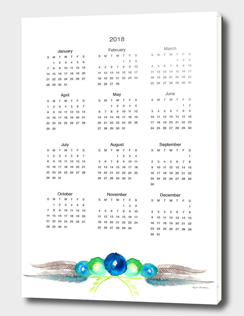 blue cornflower calendar