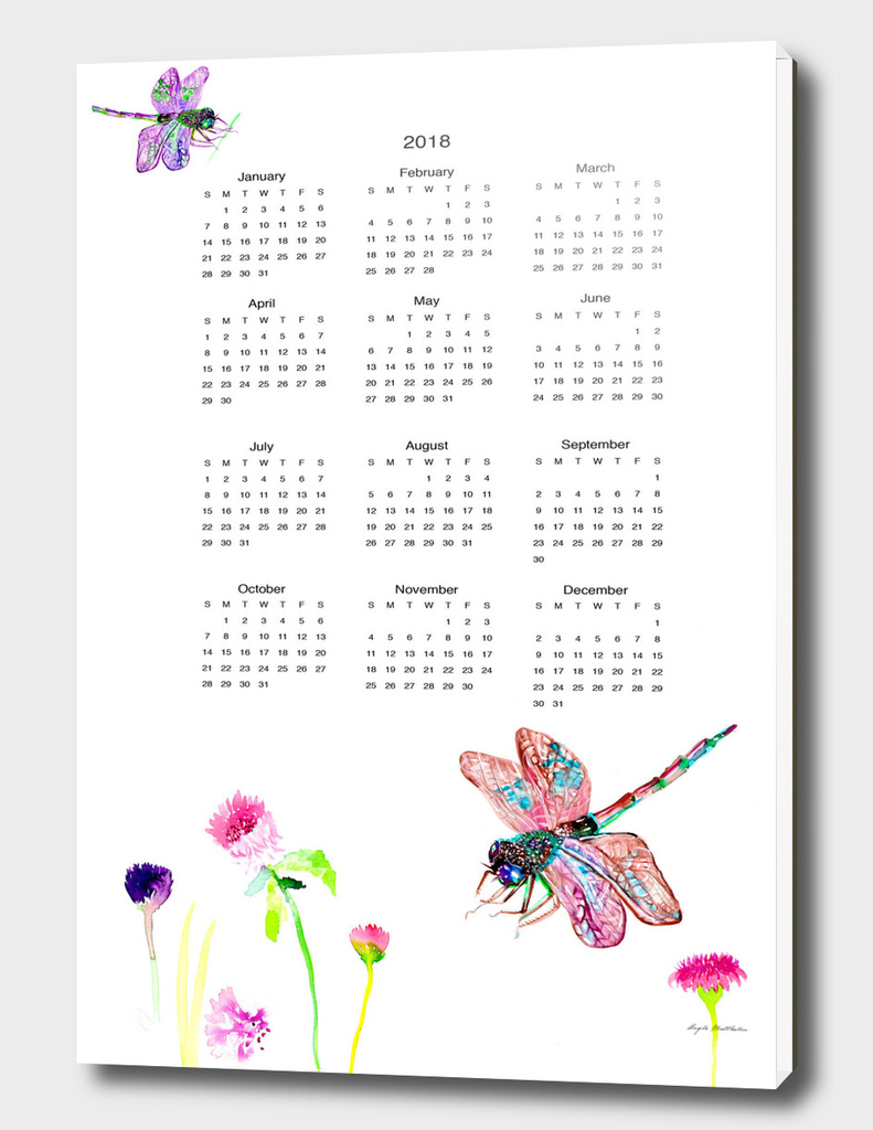Dragonfly wall calendar watercolor 2018
