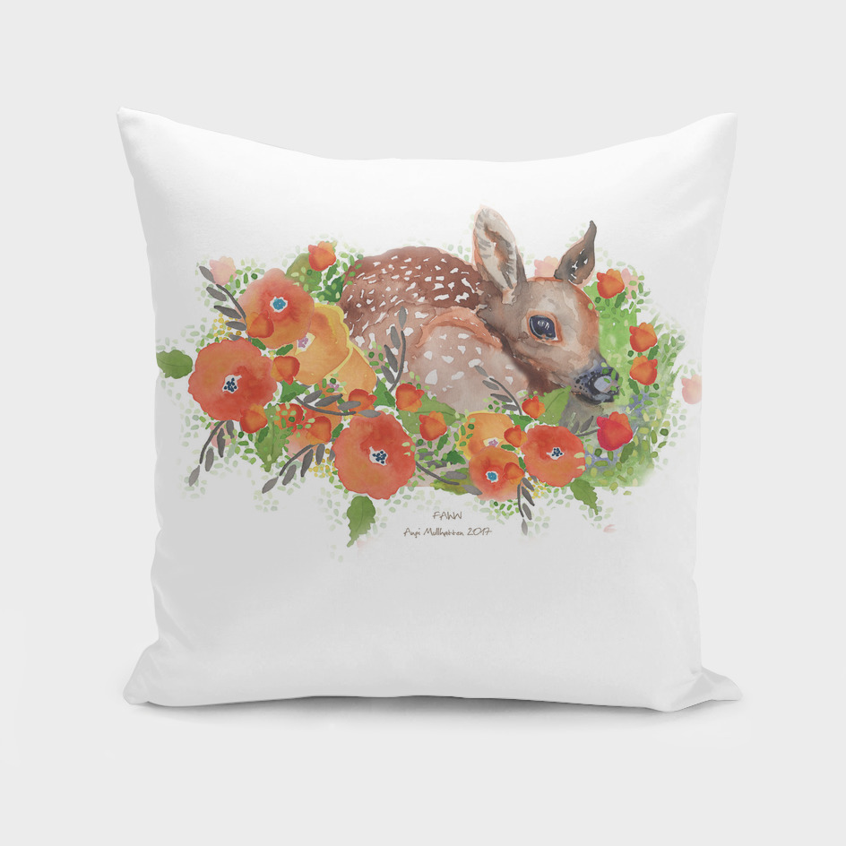 Fawn Print with flowers