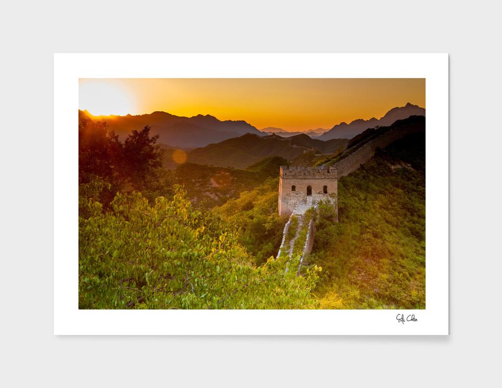 Sunset at Jinshanling Great Wall of China, Beijing, China