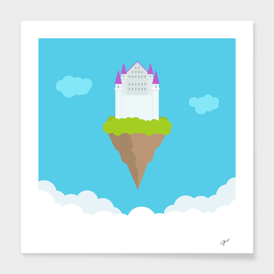 Fantasy flying heavently castle in clouds.