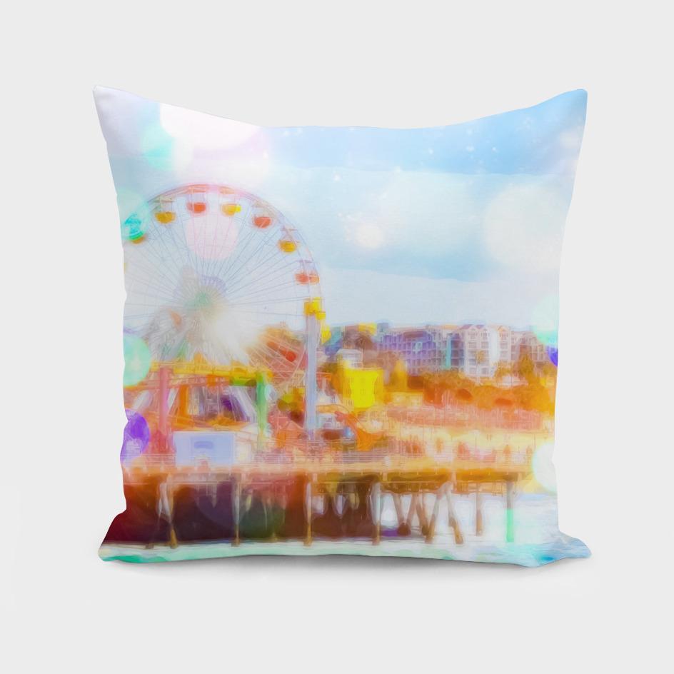 Santa Monica pier, California, USA with bokeh abstract