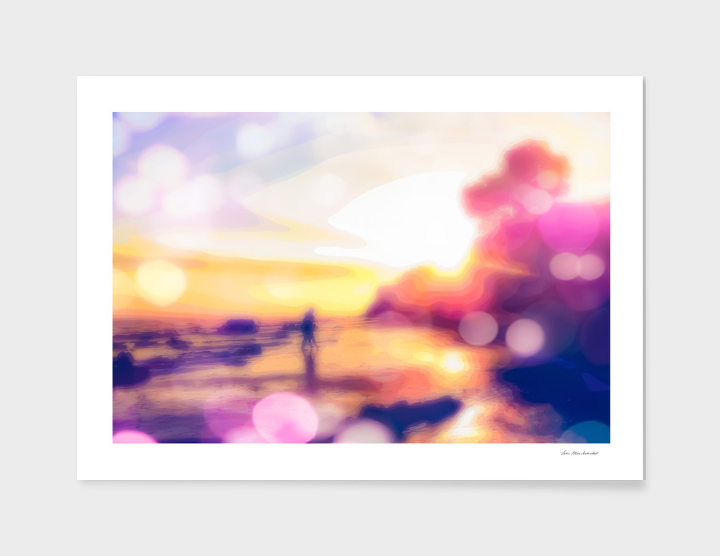 summer beach with sunset sky and beautiful bokeh light