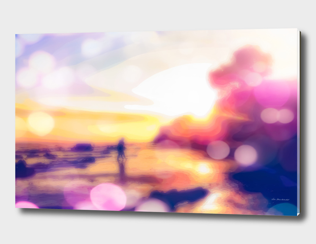 summer beach with sunset sky and beautiful bokeh light