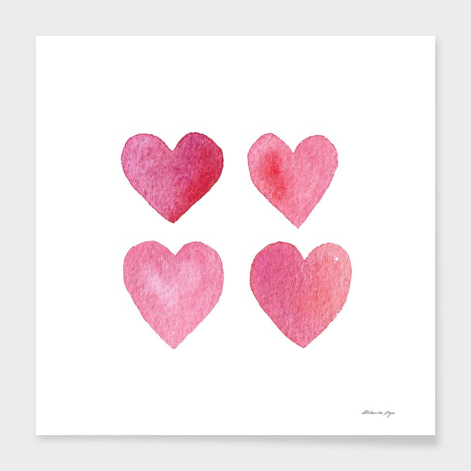 4 watercolor hearts.