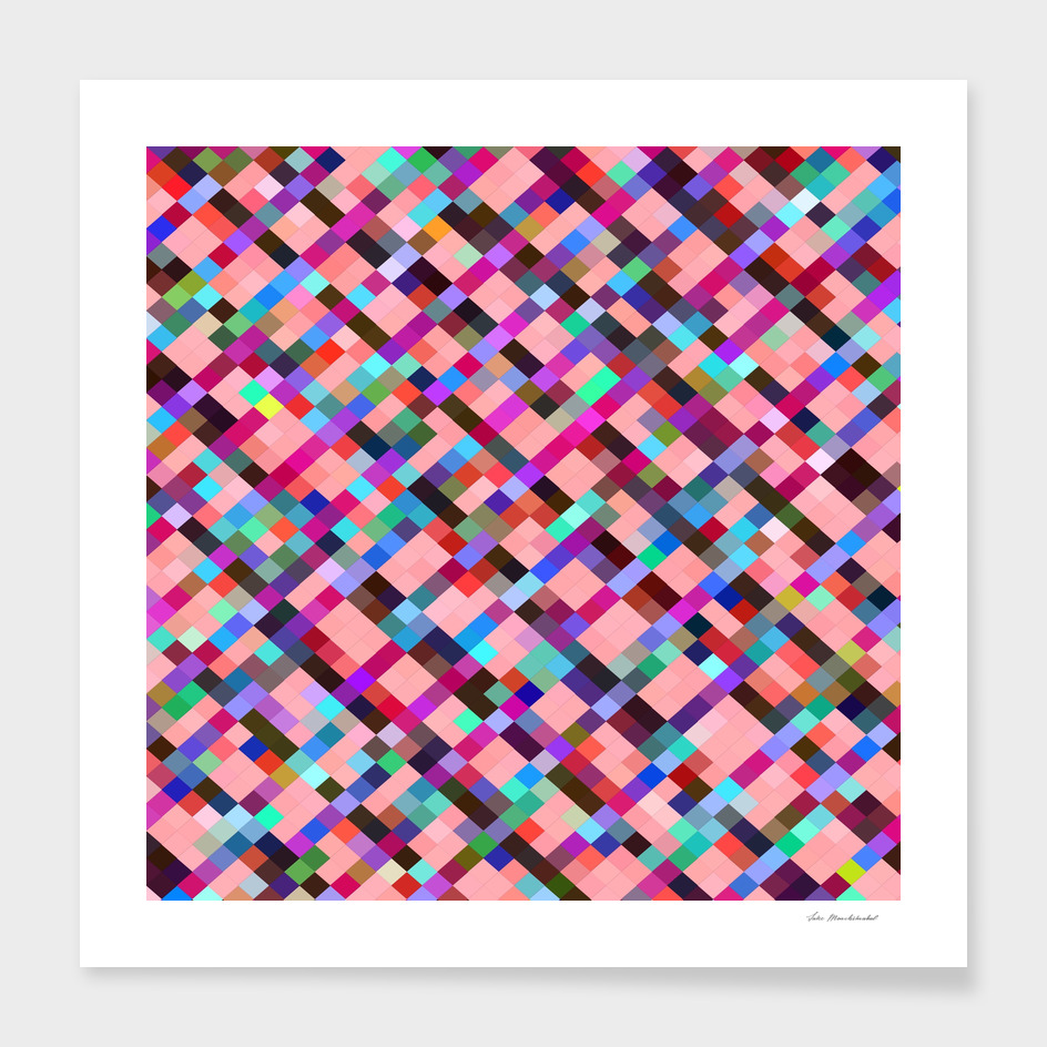 geometric square pixel pattern abstract in pink blue red