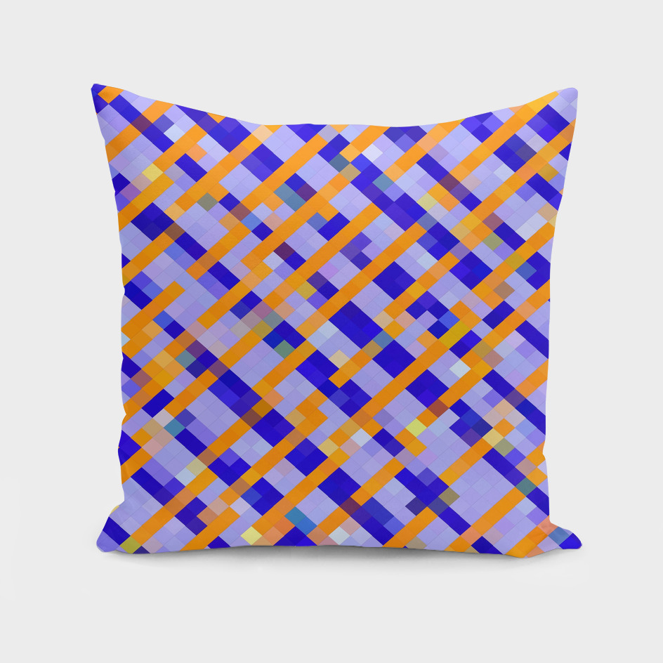 geometric square pixel pattern abstract in blue orange