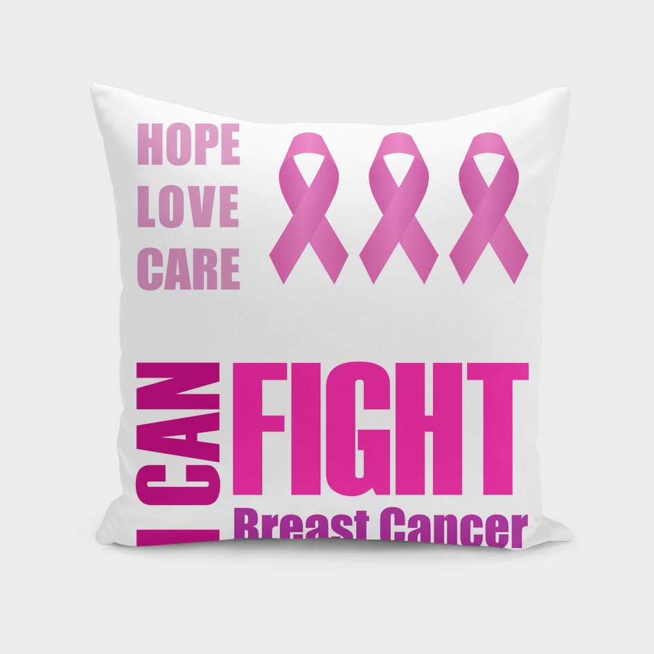 I can fight breast cancer poster with pink ribbon