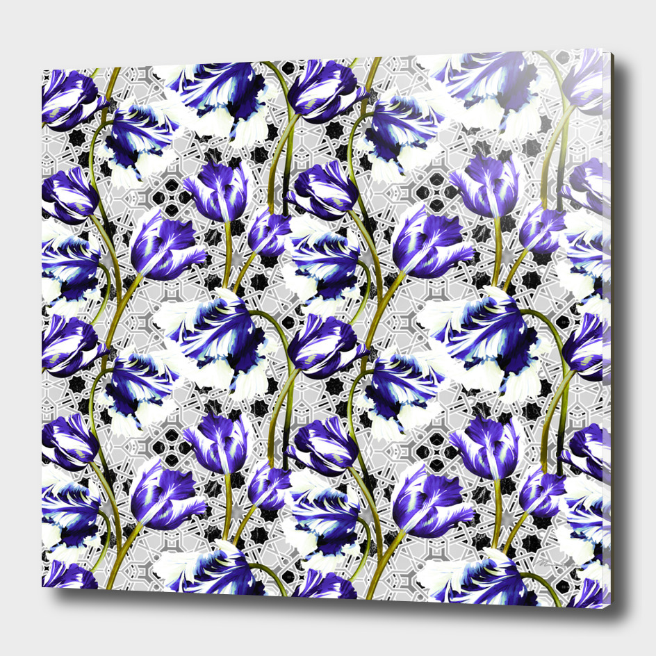 Violet poppies on abstract mosaic