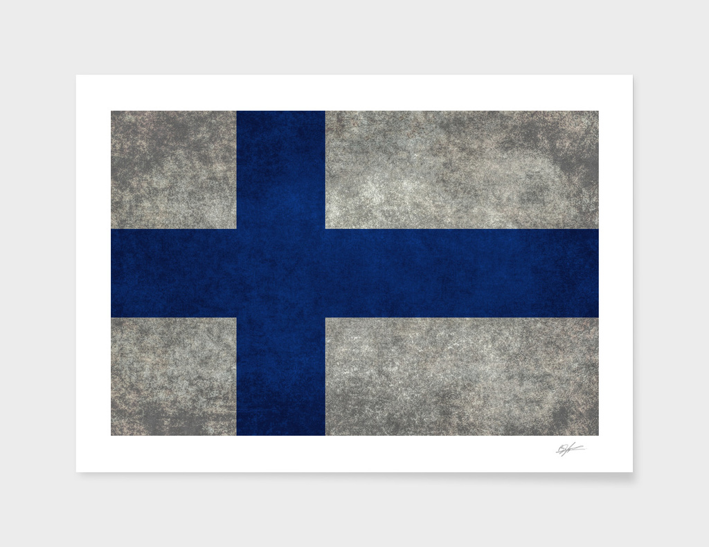 Flag of Finland in vintage retro style