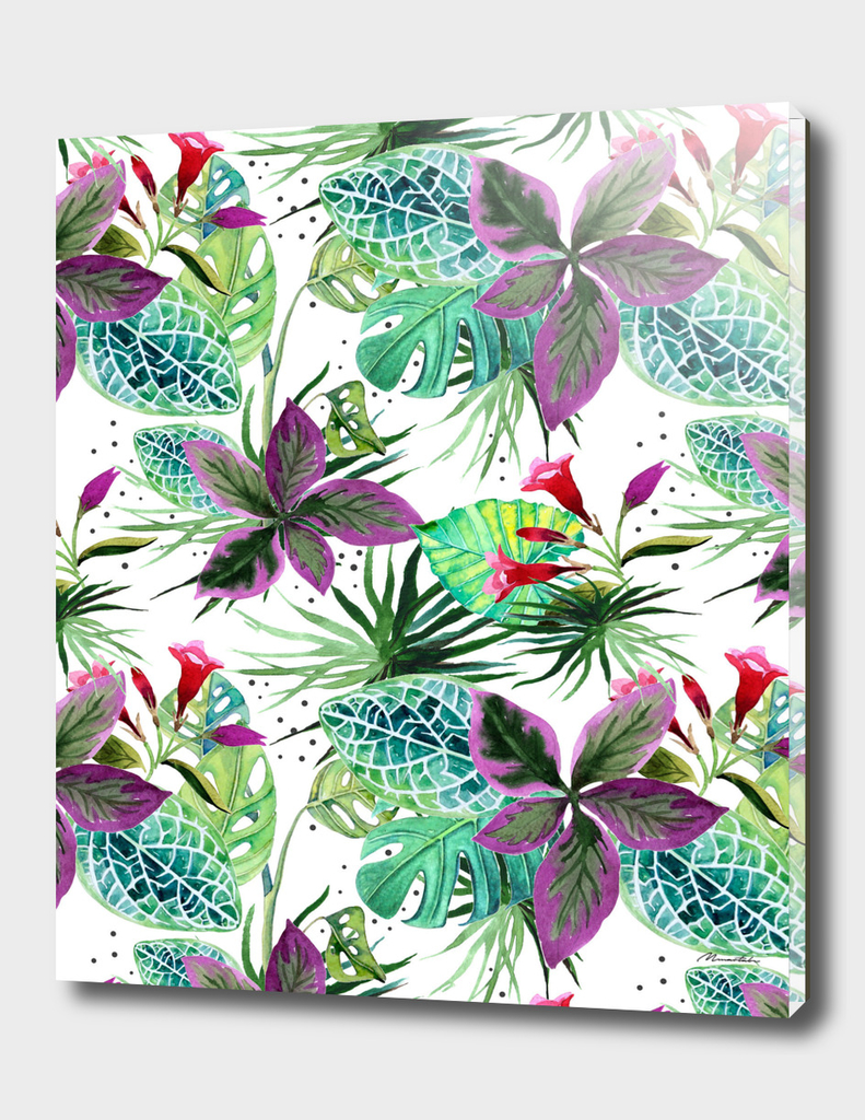 Watercolor botanical garden pattern