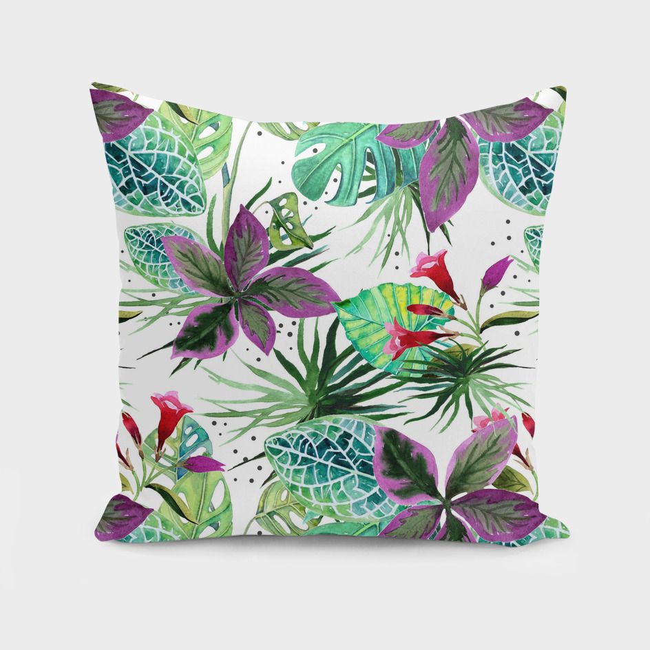 Watercolor botanical garden pattern
