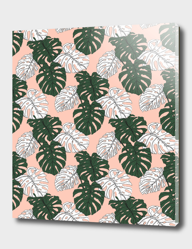 Hand drawing monstera pastel color