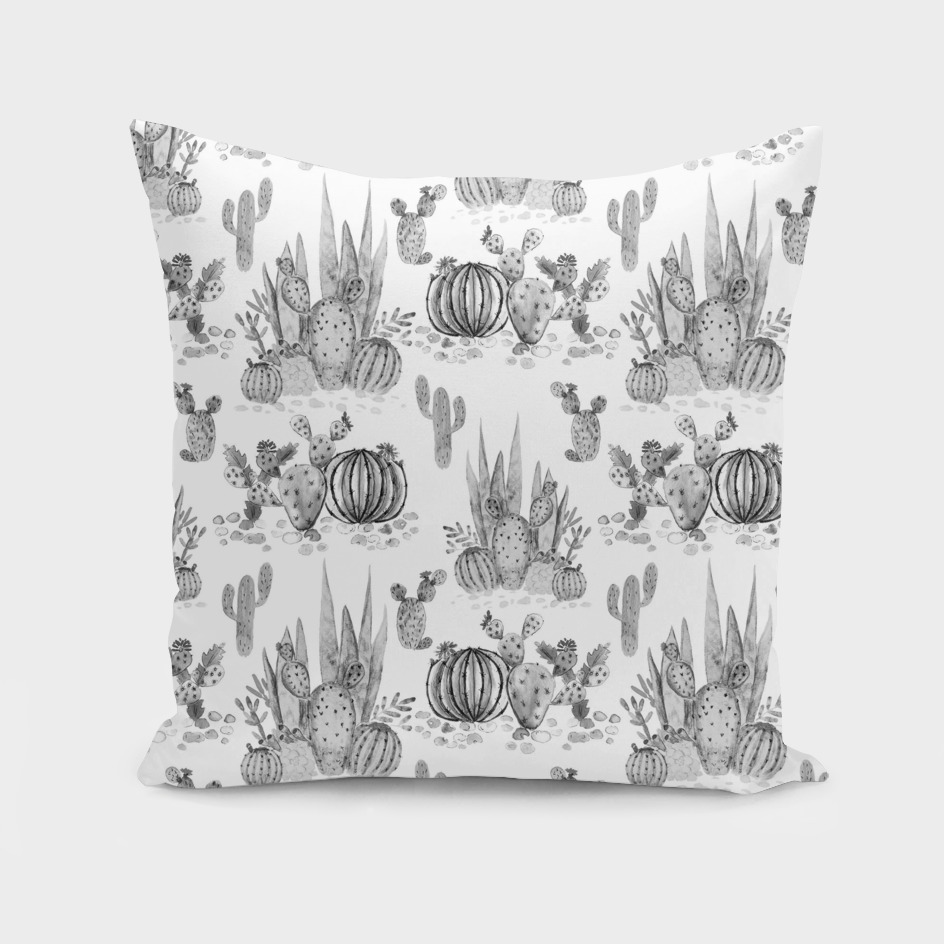 White watercolor cactuses pattern