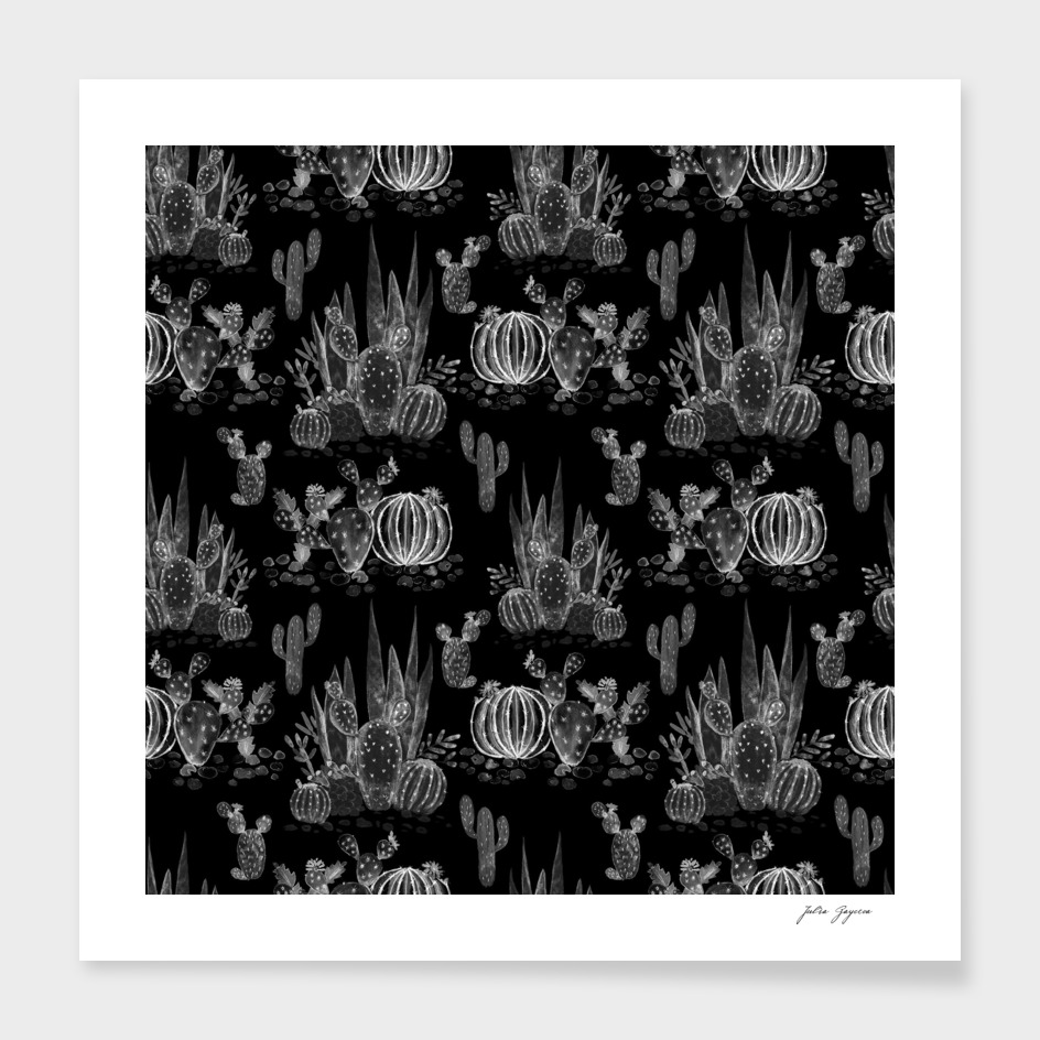 Black watercolor cactuses pattern