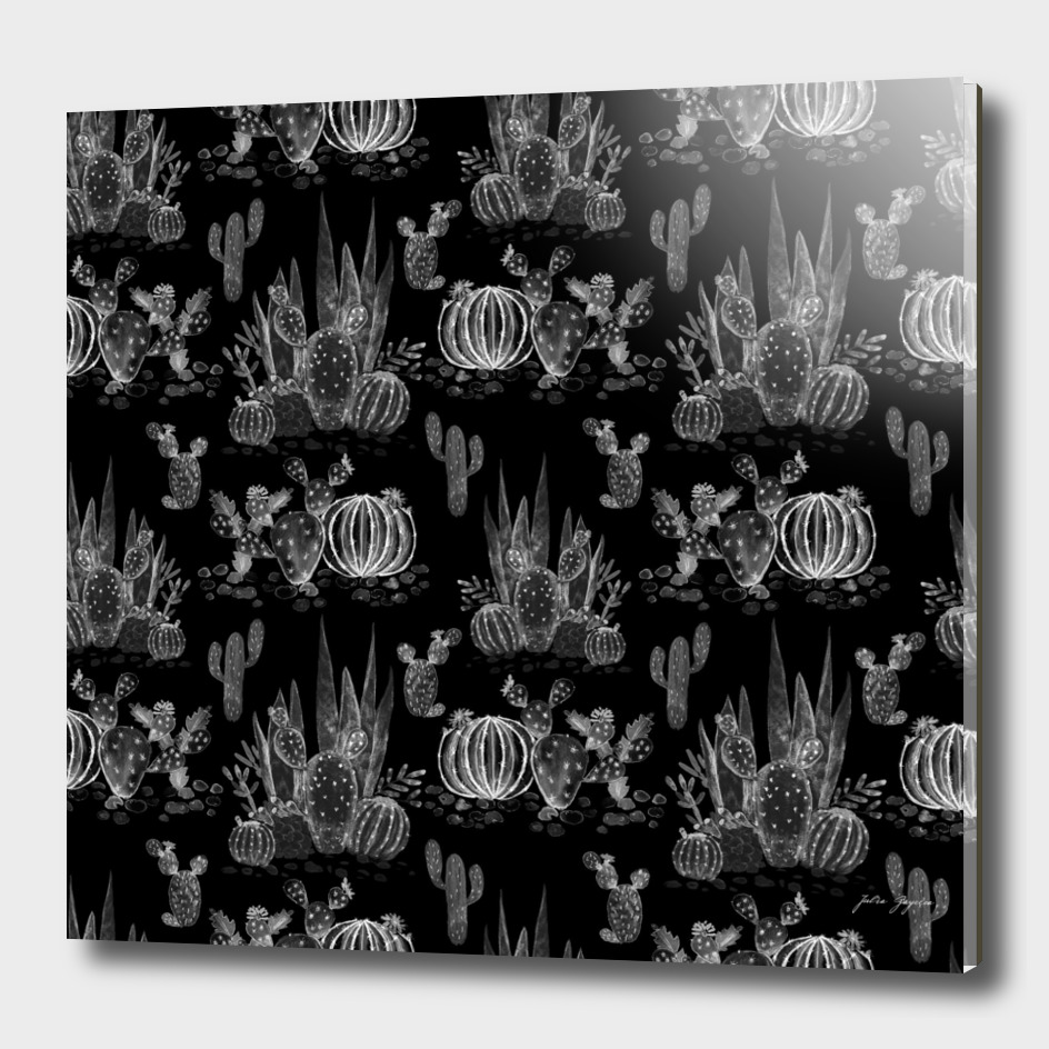 Black watercolor cactuses pattern