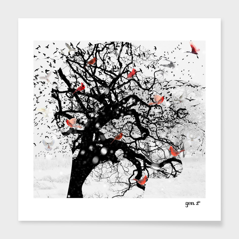 Red Birds in Snow by GEN Z