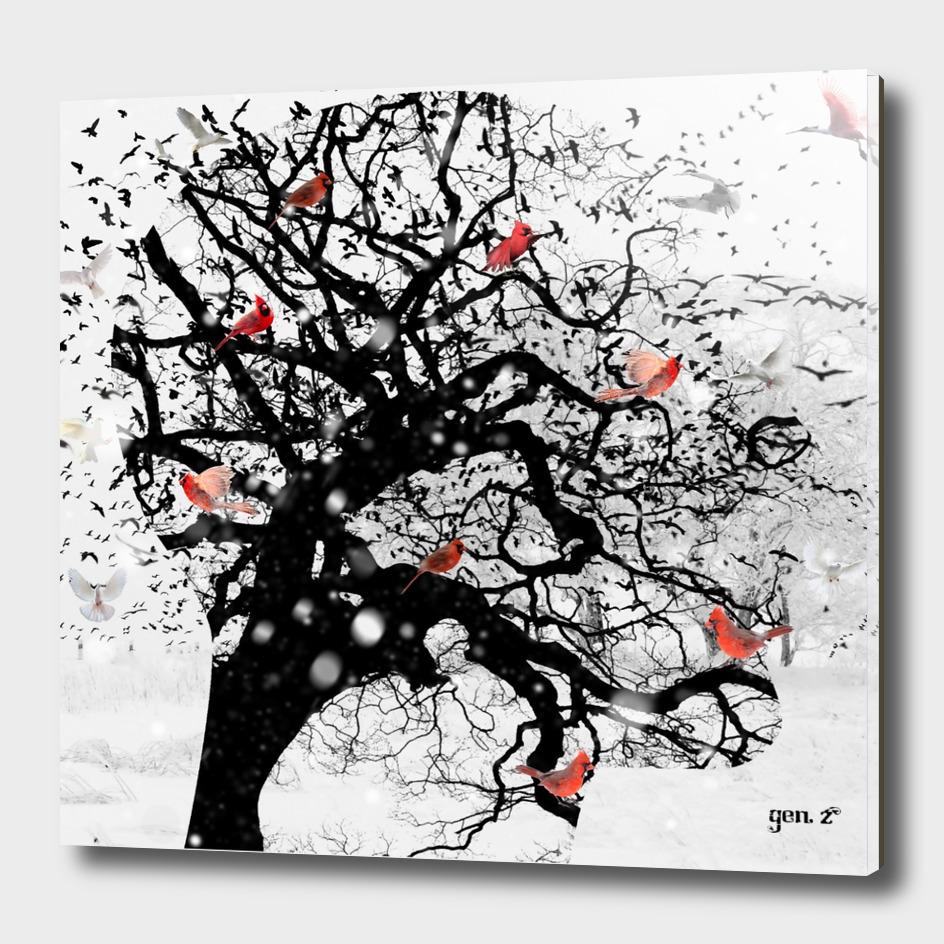 Red Birds in Snow by GEN Z