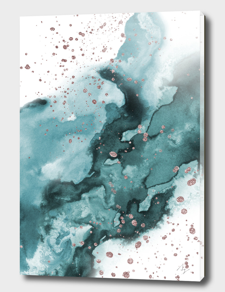 Watercolor meets Glitter - Turquoise Rose Gold - No 1