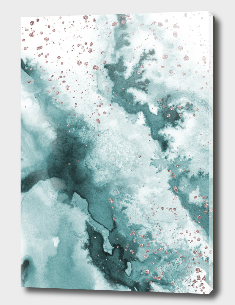 Watercolor meets Glitter - Turquoise Rose Gold - No 3