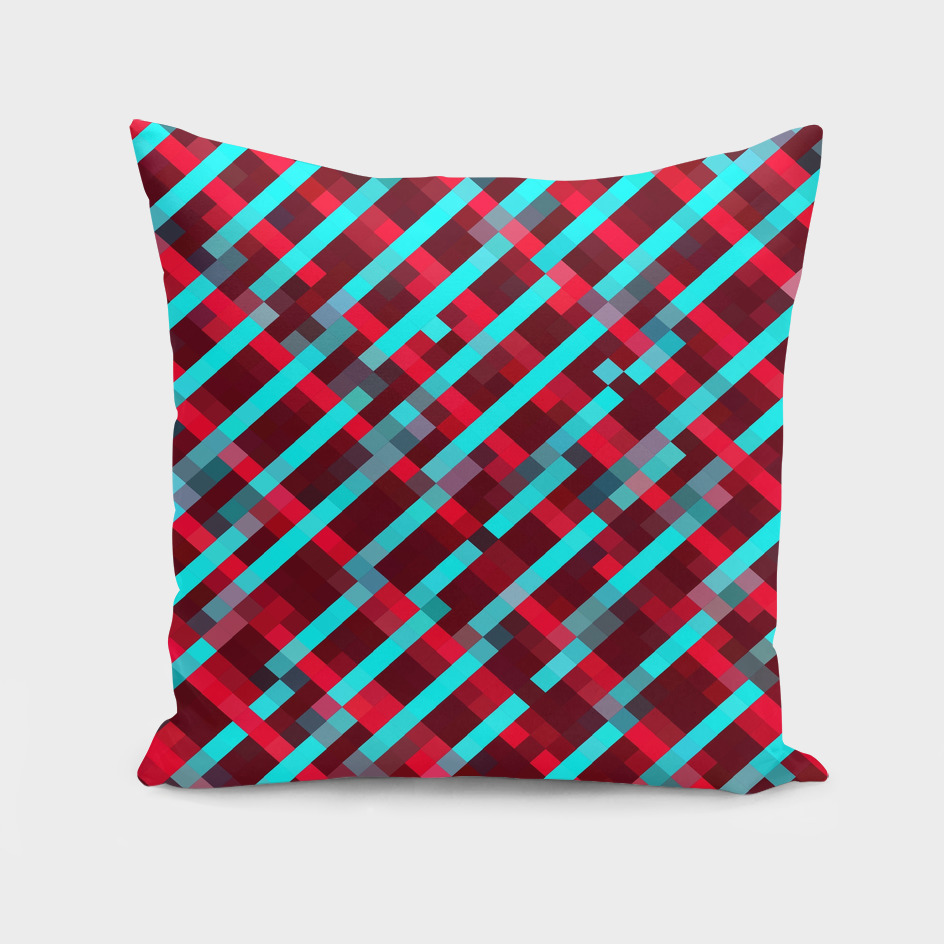 geometric square pixel pattern abstract in red and blue