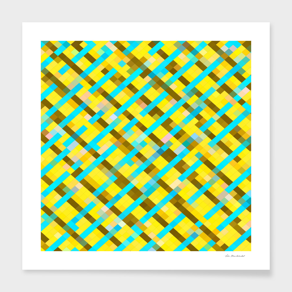 geometric square pixel pattern abstract in yellow blue