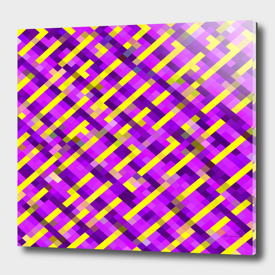 geometric square pixel pattern abstract in purple yellow
