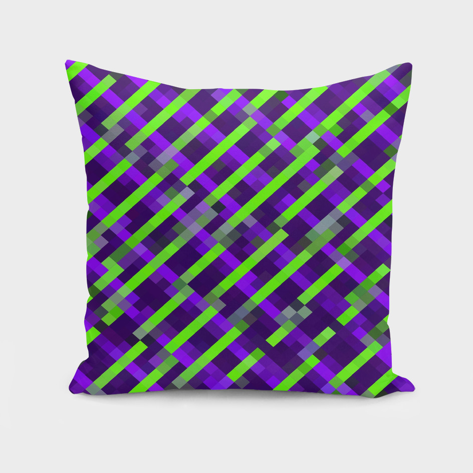 geometric square pixel pattern abstract in purple green