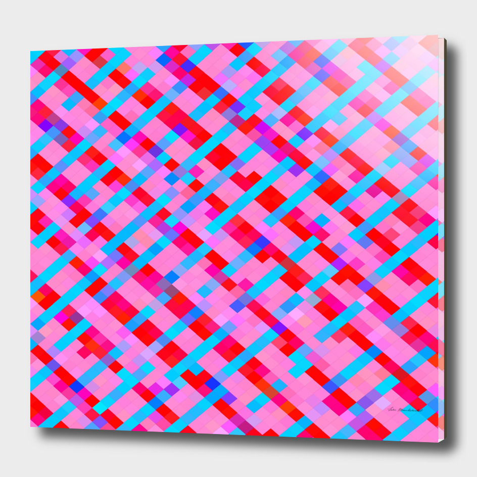 geometric square pixel pattern abstract in pink blue