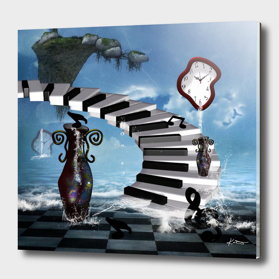 Music, piano on the beach