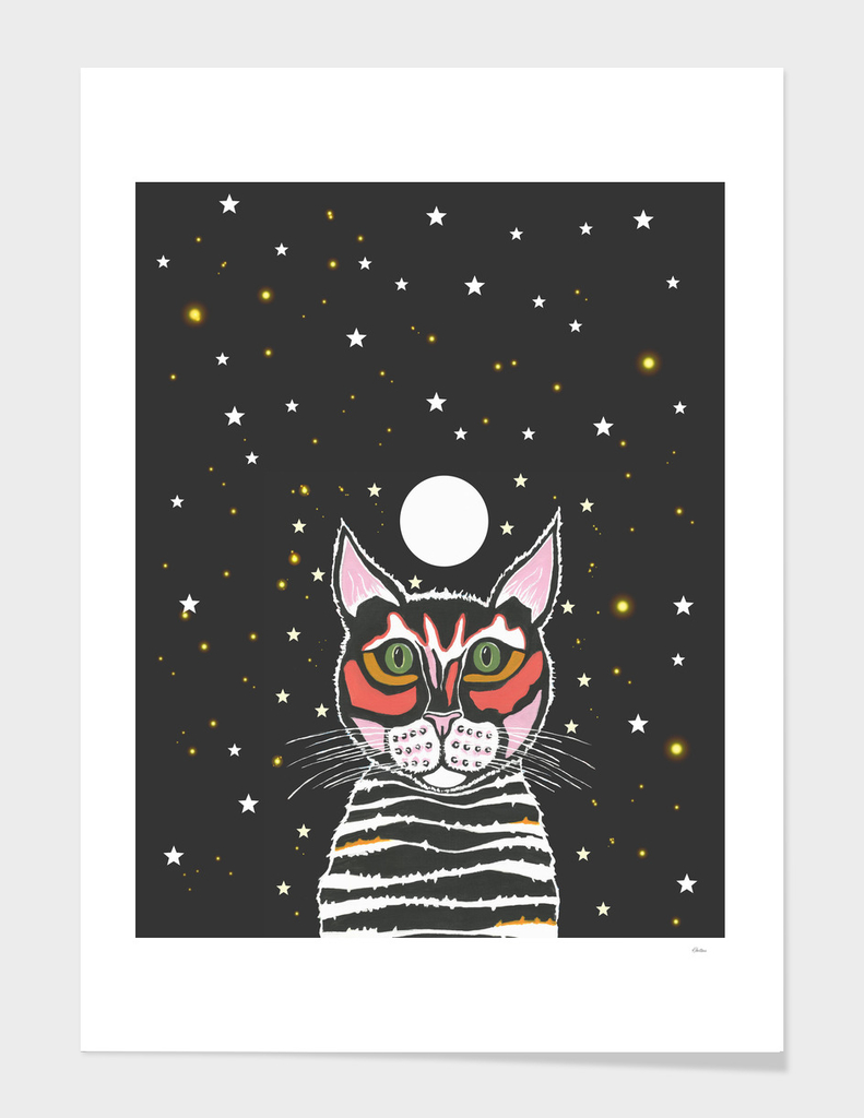 Moon Cat - Animal Art