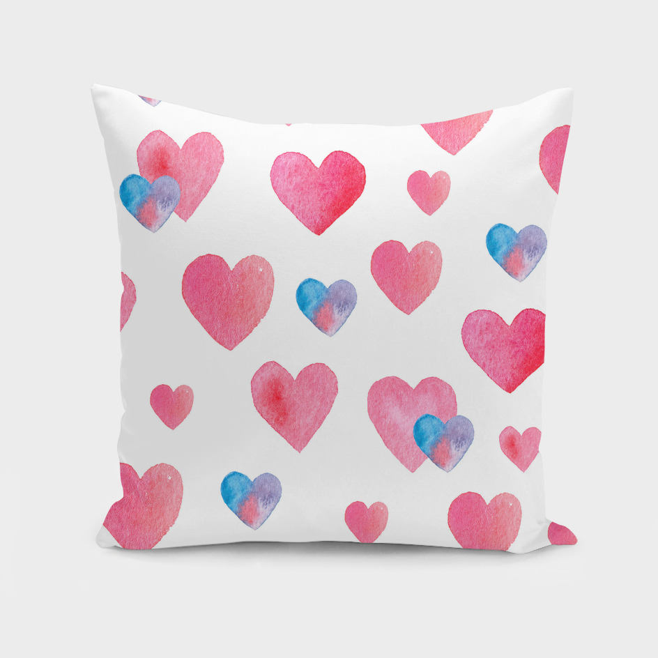 Seamless hand-drawn pattern with hearts