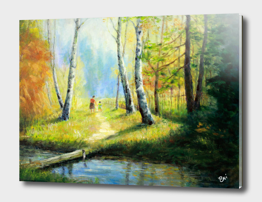 Mother And Kid Walking In The Woods