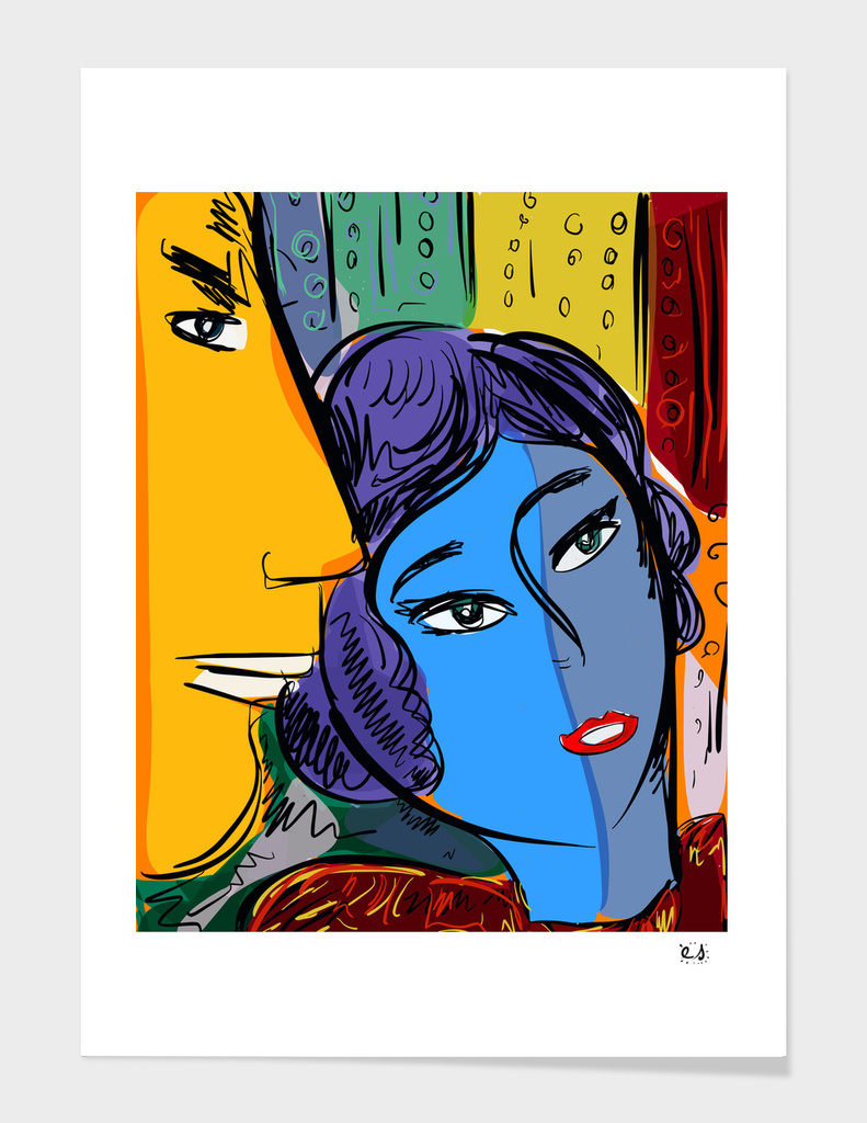 The Duo of Lovers French Pop Art