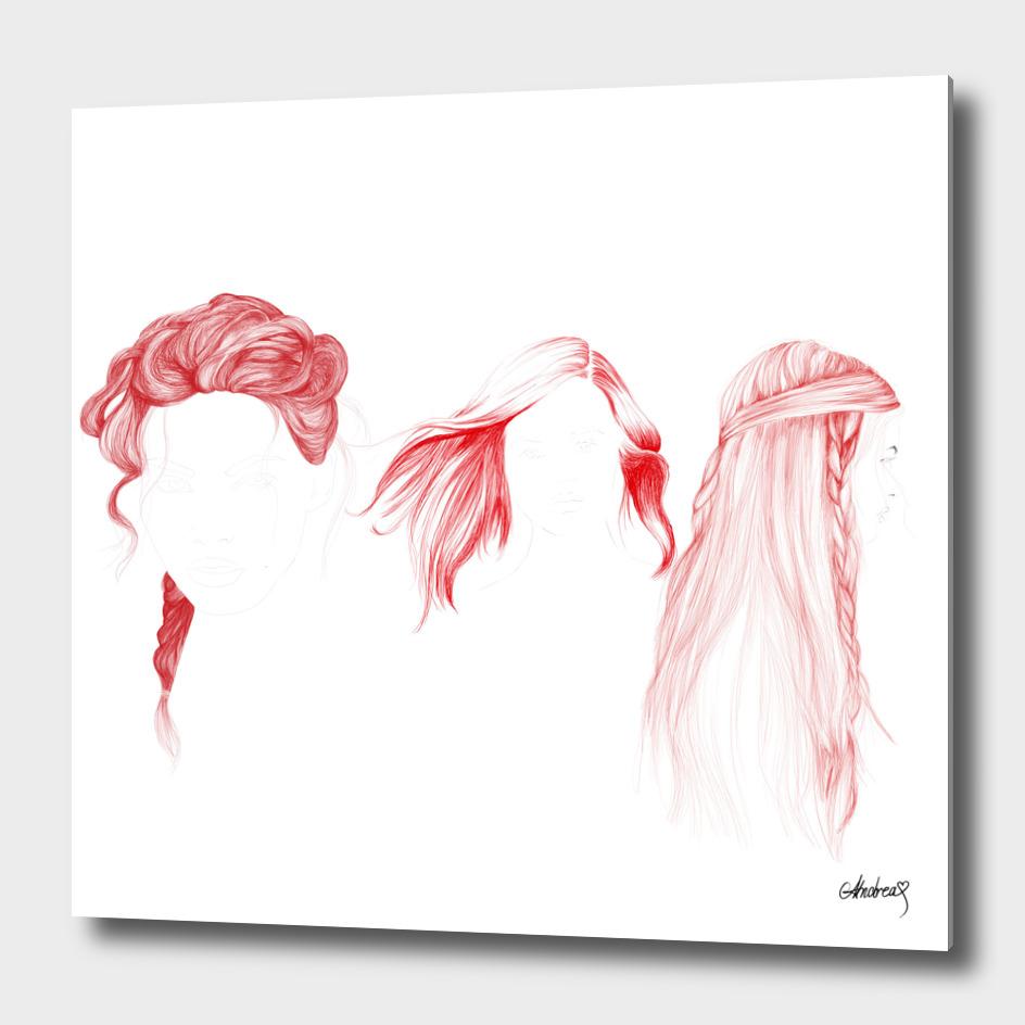 Three Red Girls