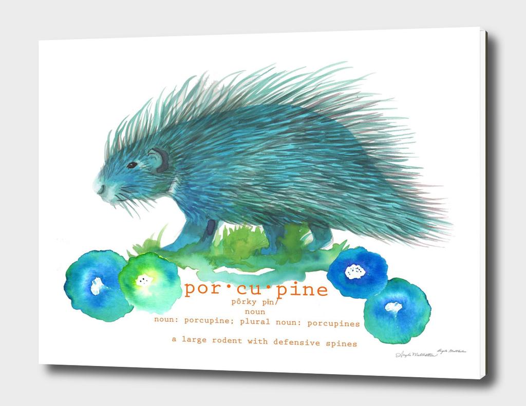 Blue Porcupine Print