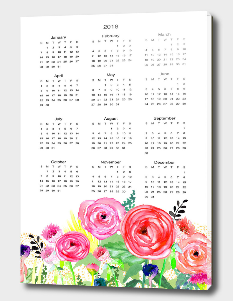 Colorful Flowers Watercolor 2018 Wall Calendar