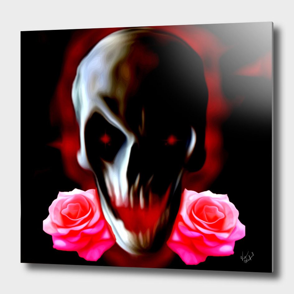 Abstract skull with roses