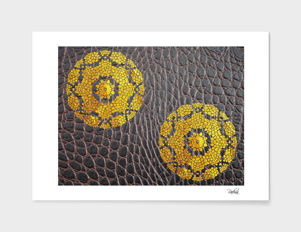 Embossed Gold Mandala On Leather