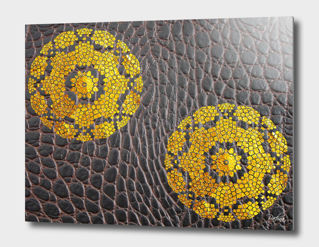 Embossed Gold Mandala On Leather