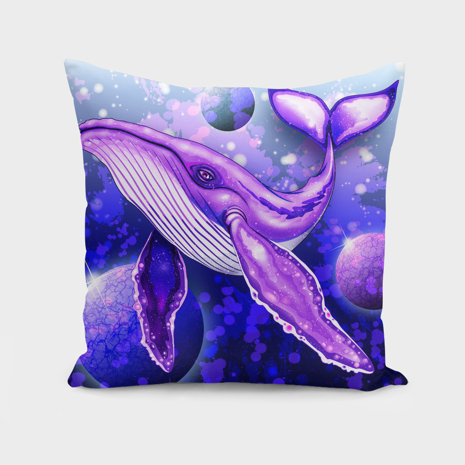 Cyber Whale on Ultra Violet Deep Space Ocean
