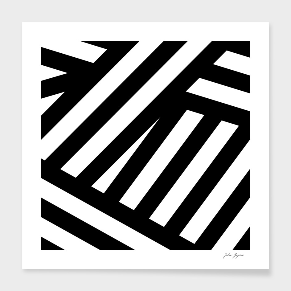 Lines black, white stripes