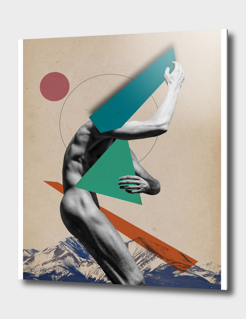 male body and mountains