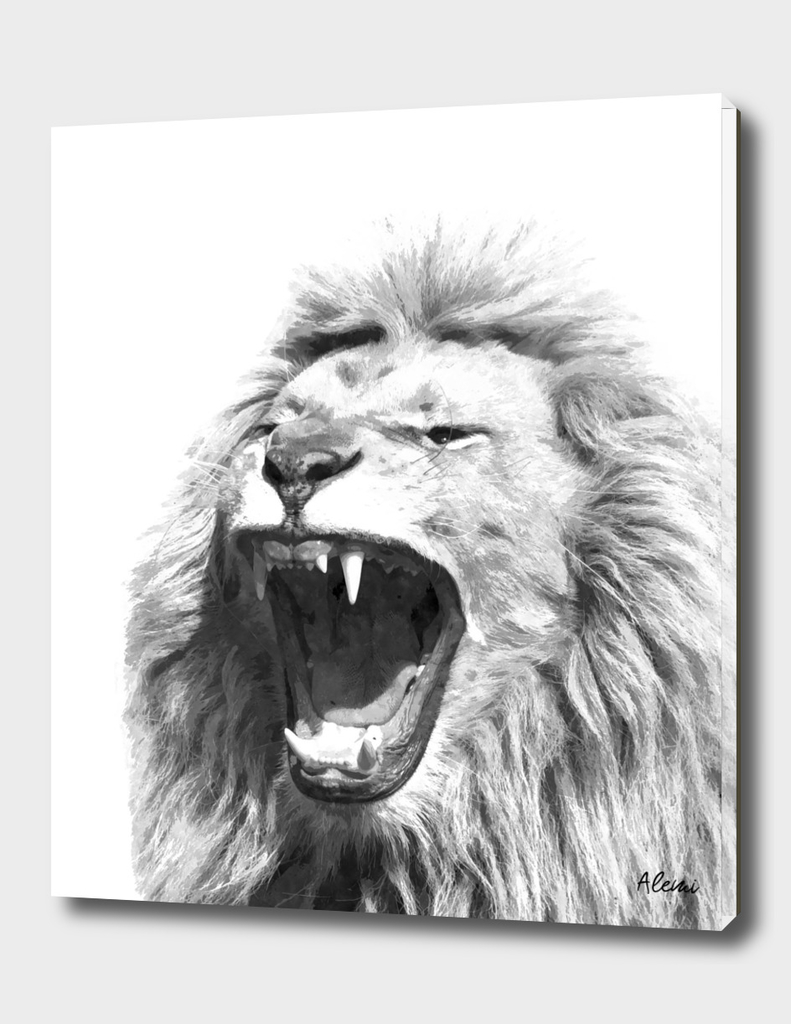 Black and White Fierce Lion