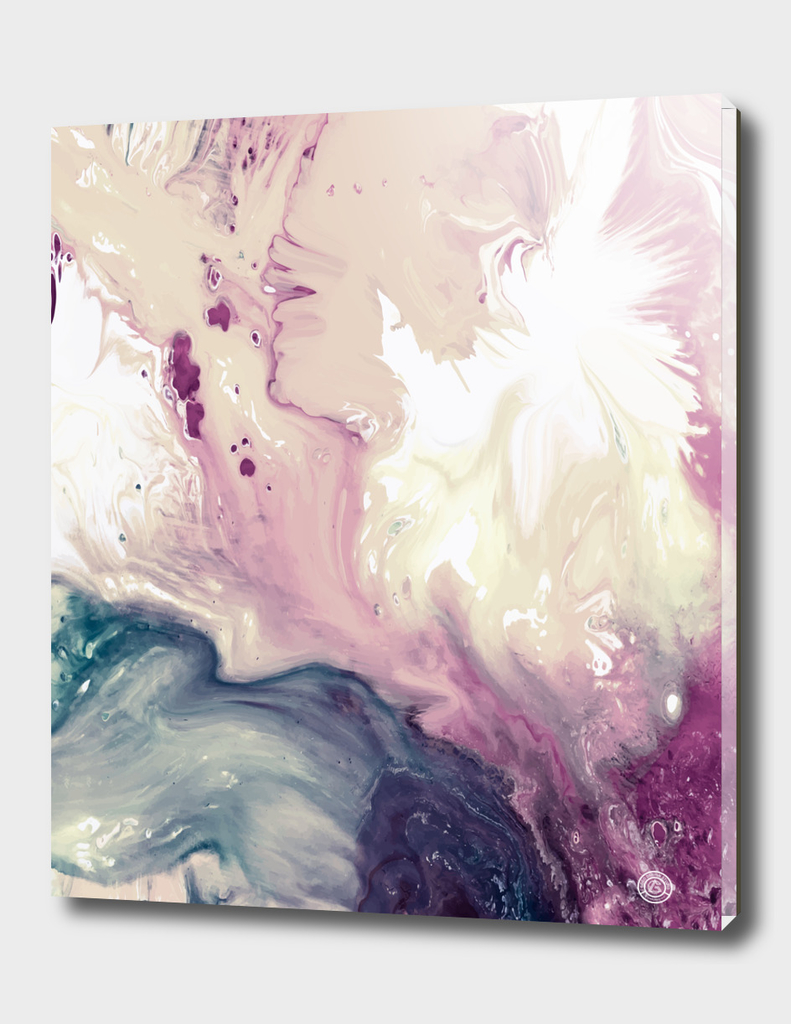 Rose Pink Turquoise Marble Painting