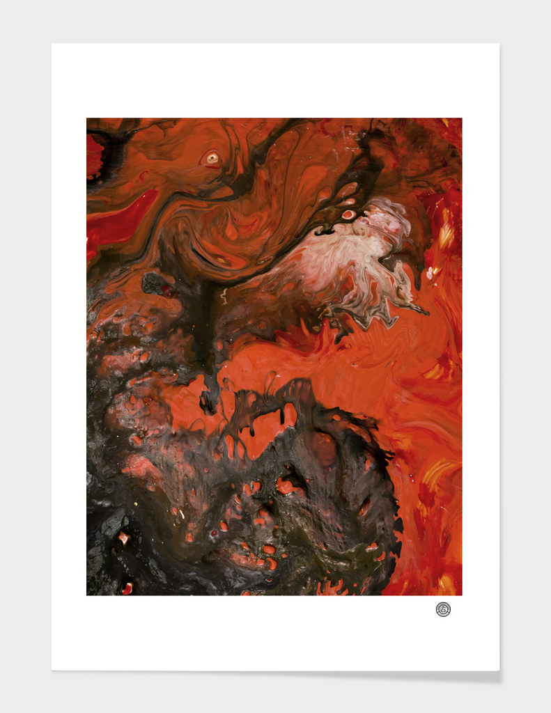 Horror Night   Black Red Marble Abstract Painting