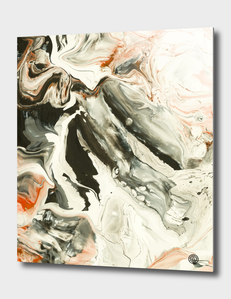 Abstract Red Grey Marble Painting
