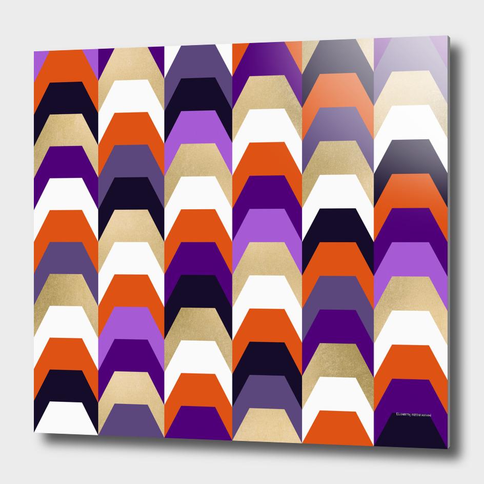 Stacks of orange and purple